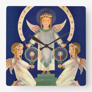 Vintage Christmas, Scandinavian Santa Lucia Angels Square Wall Clock
