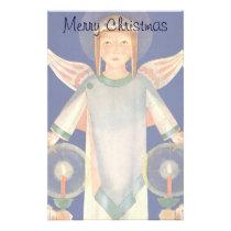 Vintage Christmas, Scandinavian Santa Lucia Angels Stationery