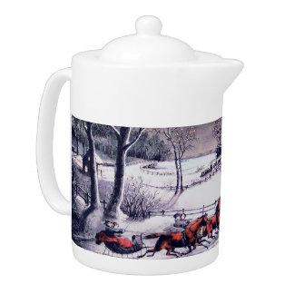 Vintage Christmas Scene . Christmas Gift Teapot