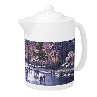 Vintage Christmas Scene Gift Teapot