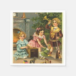 Vintage Christmas Scene Holiday paper napkins