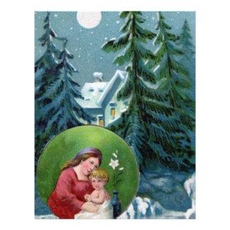Vintage Christmas Scene Letterhead Design