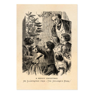 Vintage Christmas Scene Victorian Children by Tree Large Business Card
