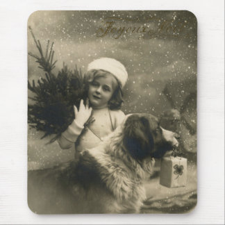Vintage Christmas Scene with Child and Dog Mouse Pad