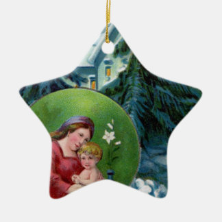 Vintage Christmas Scene with Mother & Child Ceramic Ornament