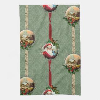 Vintage Christmas Scenes and Damask Kitchen Towel