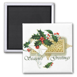 Vintage Christmas Season's Greetings Fridge Magnet