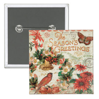 Vintage Christmas Season's Greetings Pinback Button