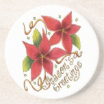 Vintage Christmas Season's Greetings Poinsettias Beverage Coasters