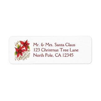 Vintage Christmas Season's Greetings Poinsettias Return Address Label