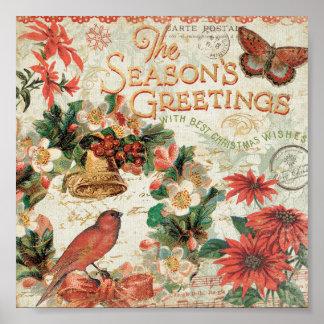 Vintage Christmas Season's Greetings Poster