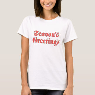 Vintage Christmas, Season's Greetings Text in Red T-Shirt