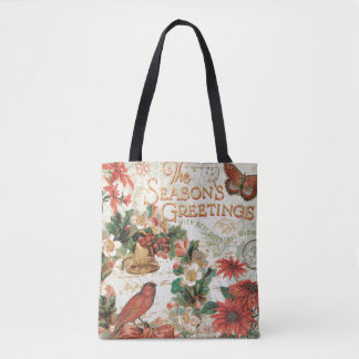 Vintage Christmas Season's Greetings Tote Bag