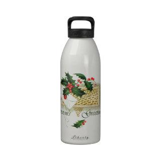 Vintage Christmas Seasons Greetings Reusable Water Bottles
