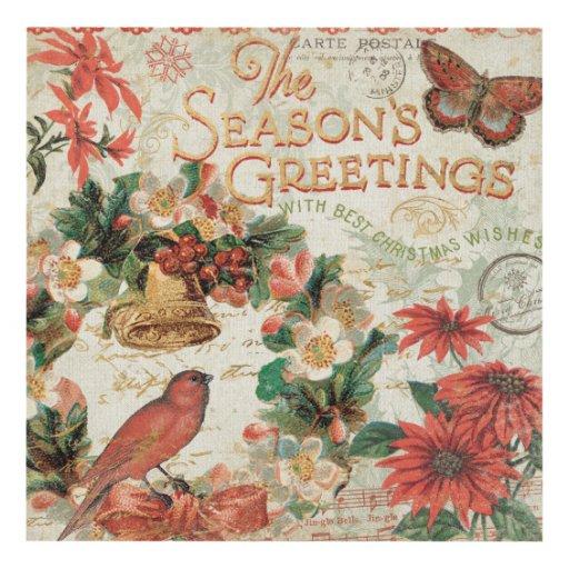 Vintage Christmas Wall Decor : Vintage christmas season s greetings wood wall art