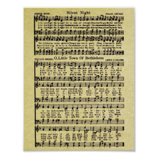 Vintage Christmas Sheet Music Replica Poster at Zazzle