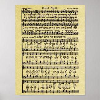 Vintage Christmas Sheet Music Replica Poster