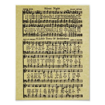 Christmas Themed Vintage Christmas Sheet Music Replica Poster