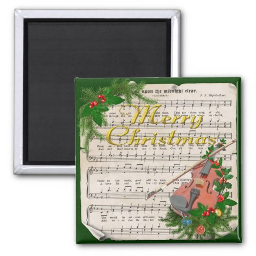 Vintage Christmas Sheet Music with Festive Violin 2-inch Square Magnet