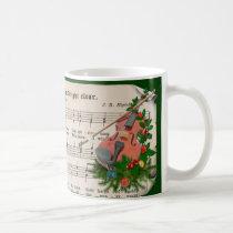 Vintage Christmas Sheet Music with Festive Violin Coffee Mug