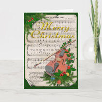 Vintage Christmas Sheet Music with Festive Violin Holiday Card