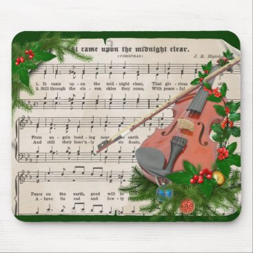 Christmas Themed Vintage Christmas Sheet Music with Festive Violin Mouse Pad