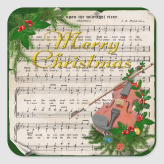 Vintage Christmas Sheet Music with Festive Violin Square Sticker