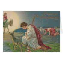 Vintage Christmas Shepherds Kneel Down to Pray Card