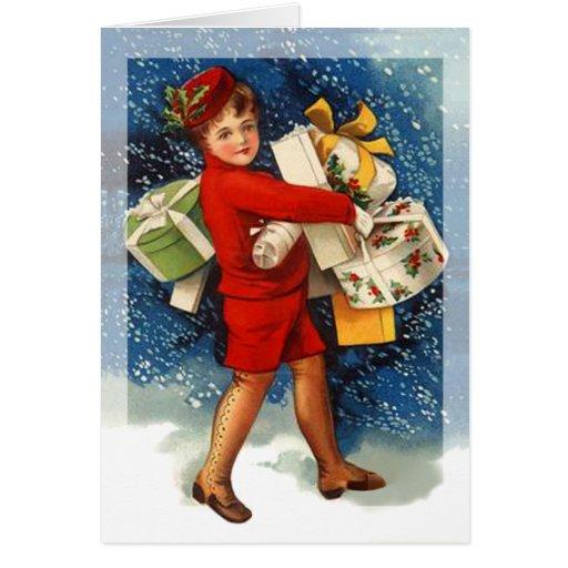 Vintage Christmas Shopping Girl Greeting Cards