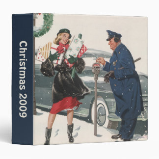 Vintage Christmas, Shopping Presents Policeman Vinyl Binders