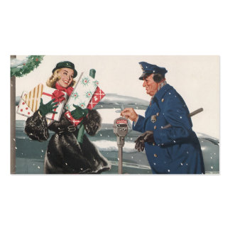 Vintage Christmas, Shopping Presents Policeman Double-Sided Standard Business Cards (Pack Of 100)