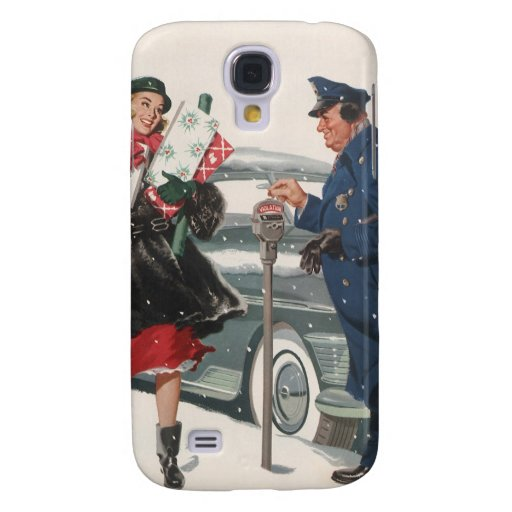 Vintage Christmas, Shopping Presents Policeman Samsung Galaxy S4 Case