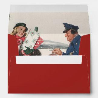 Vintage Christmas, Shopping Presents Policeman Envelope