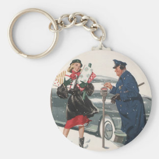 Vintage Christmas, Shopping Presents Policeman Keychain