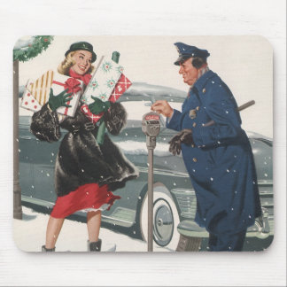 Vintage Christmas, Shopping Presents Policeman Mouse Pad