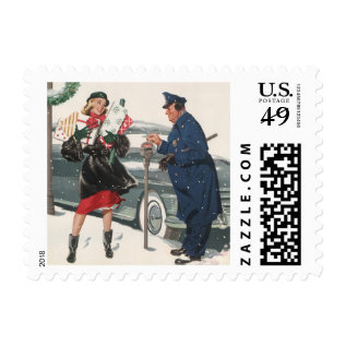 Vintage Christmas, Shopping Presents Policeman Postage at Zazzle
