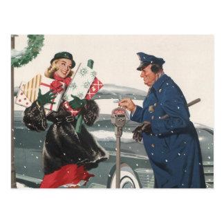 Vintage Christmas Shopping Presents Policeman Postcard
