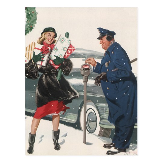 Vintage Christmas, Shopping Presents Policeman Postcard