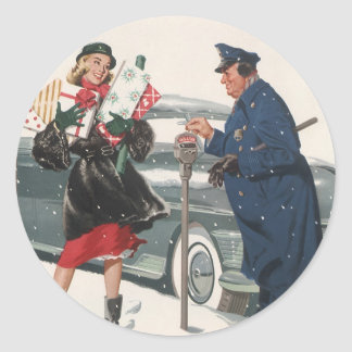 Vintage Christmas, Shopping Presents Policeman Round Sticker
