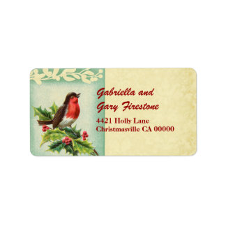 Vintage Christmas Singing Bird and  Holly Address Label