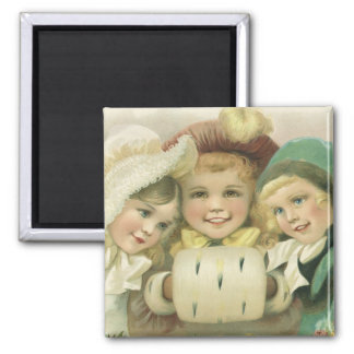 Vintage Christmas Sisters, Victorian Children 2 Inch Square Magnet