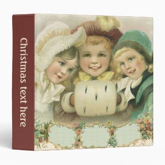 Vintage Christmas Sisters, Victorian Children Vinyl Binders