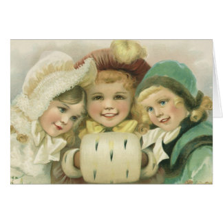 Vintage Christmas Sisters, Victorian Children Card