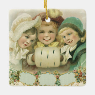 Vintage Christmas Sisters, Victorian Children Ceramic Ornament