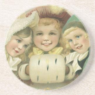 Vintage Christmas Sisters, Victorian Children Drink Coaster