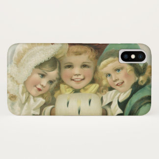 Vintage Christmas Sisters, Victorian Children iPhone X Case