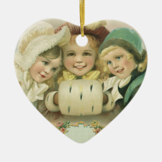 Vintage Christmas Sisters, Victorian Children Double-Sided Heart Ceramic Christmas Ornament