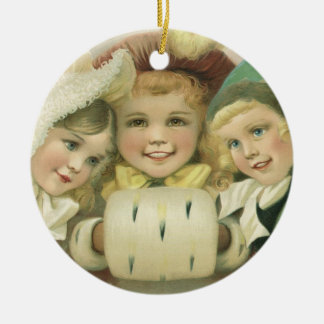 Vintage Christmas Sisters, Victorian Children Double-Sided Ceramic Round Christmas Ornament