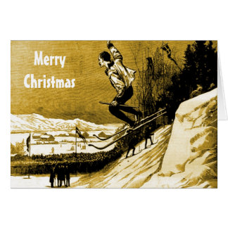 VIntage Christmas,Ski race winner, gold Card