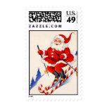 Vintage Christmas Skiing Santa Claus Postage